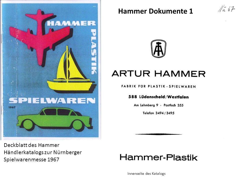 Deckblatt des Hammer Händlerkatalogs zur Nürnberger Spielwarenmesse 1967 Innenseite des Katalogs Hammer Dokumente 1
