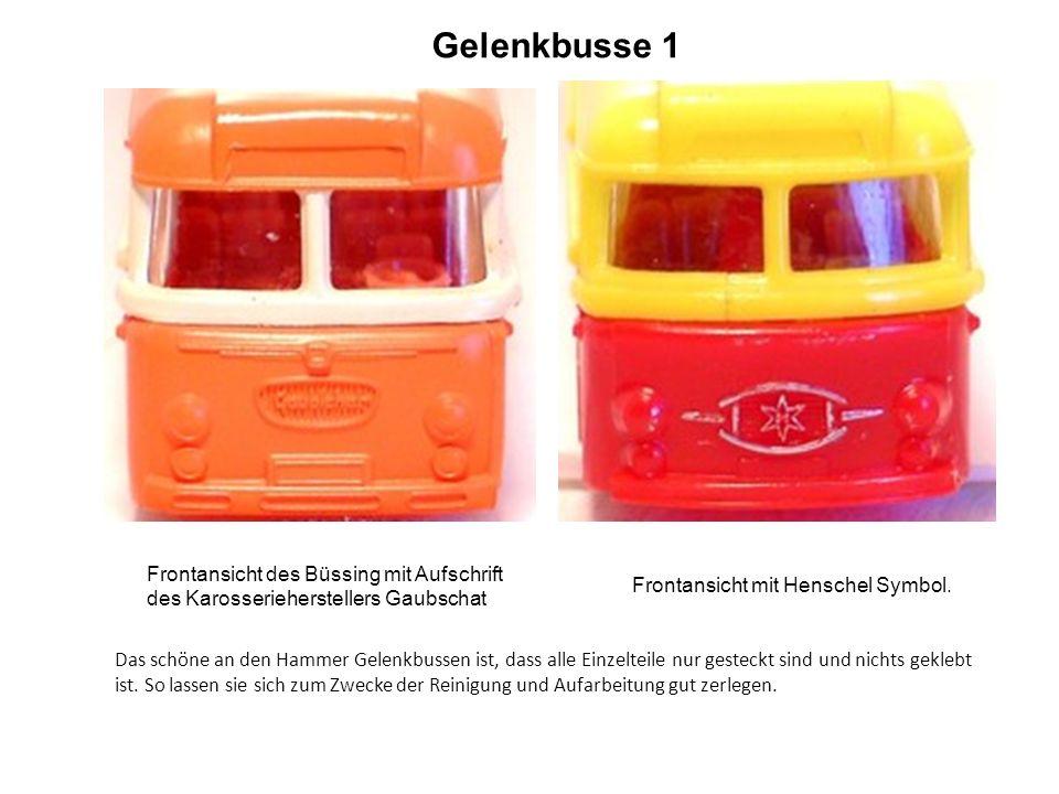 Gelenkbusse 1 Frontansicht des Büssing mit Aufschrift des Karosserieherstellers Gaubschat Frontansicht mit Henschel Symbol.