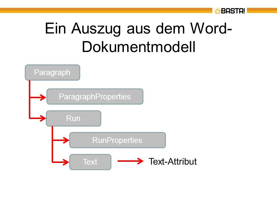 Ein Auszug aus dem Word- Dokumentmodell Paragraph ParagraphProperties Run RunProperties Text Text-Attribut