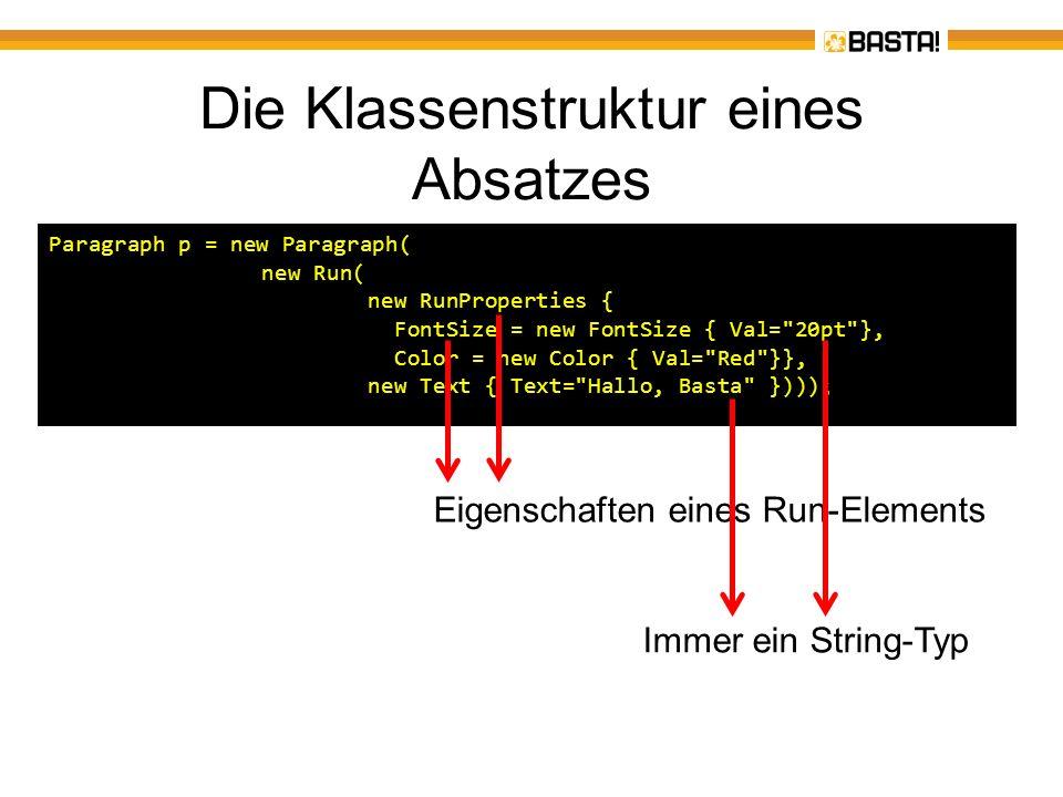 Die Klassenstruktur eines Absatzes Paragraph p = new Paragraph( new Run( new RunProperties { FontSize = new FontSize { Val=