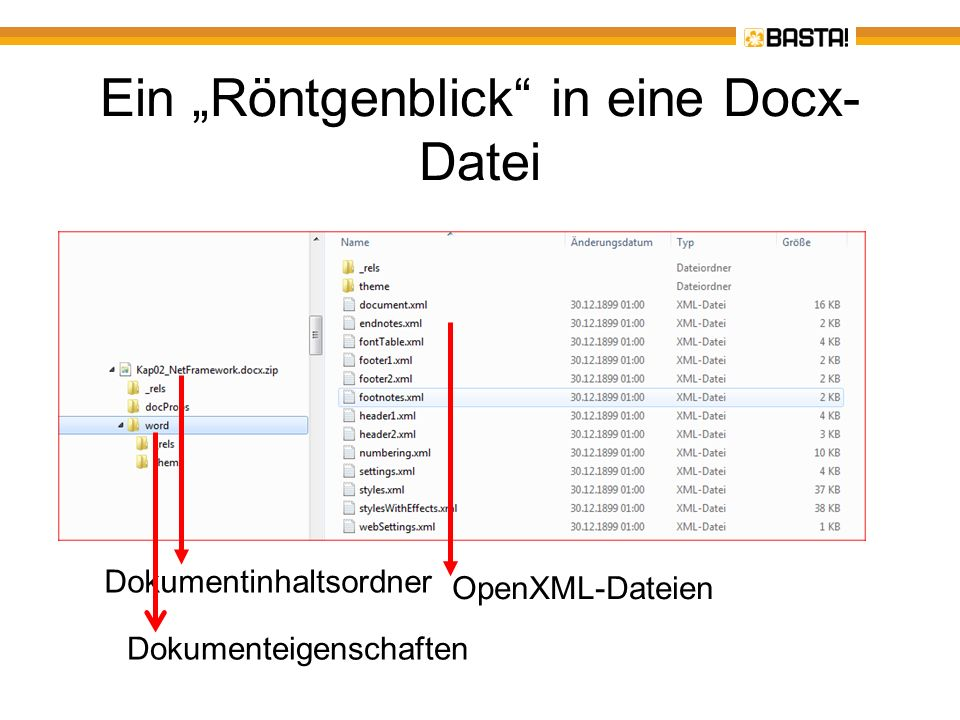 Zugriff auf eine Docx-Datei – Dokument öffnen using (WordprocessingDocument wdDoc = WordprocessingDocument.Open(ofd.FileName, false)) { MainDocumentPart mainPart = wdDoc.MainDocumentPart; Body body = mainPart.Document.Body; IEnumerable Paras = from p in body.Elements () select p; foreach (Paragraph p in Paras) { ParaListBox.Items.Add(p.InnerText); } } Typisierter Zugriff Abfrage über LINQ