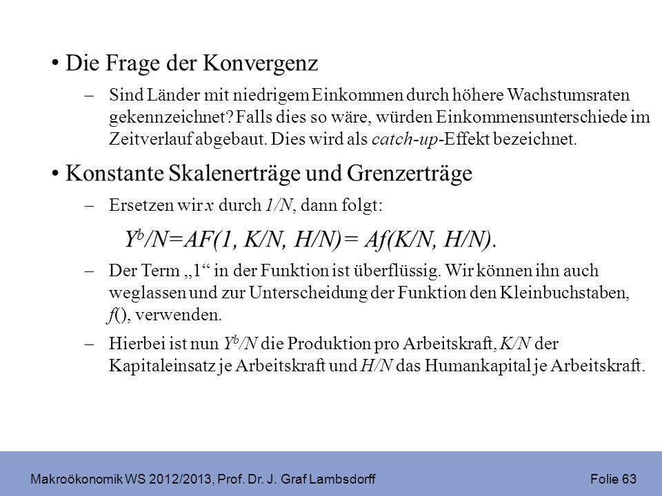 Makroökonomik WS 2012/2013, Prof. Dr. J. Graf Lambsdorff Folie 63 Die Frage der Konvergenz Sind Länder mit niedrigem Einkommen durch höhere Wachstumsr