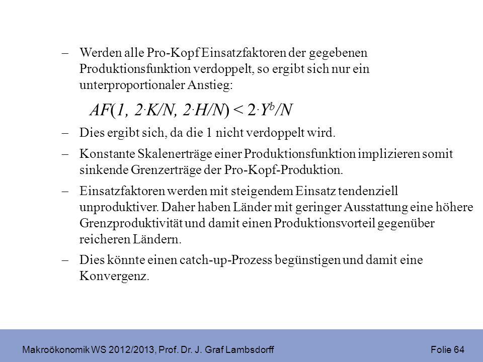 Makroökonomik WS 2012/2013, Prof. Dr. J. Graf Lambsdorff Folie 64 Werden alle Pro-Kopf Einsatzfaktoren der gegebenen Produktionsfunktion verdoppelt, s