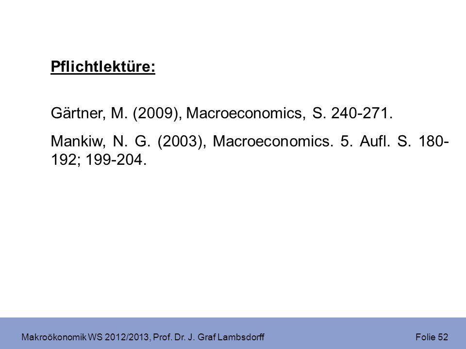 Makroökonomik WS 2012/2013, Prof. Dr. J. Graf Lambsdorff Folie 52 Pflichtlektüre: Gärtner, M. (2009), Macroeconomics, S. 240-271. Mankiw, N. G. (2003)