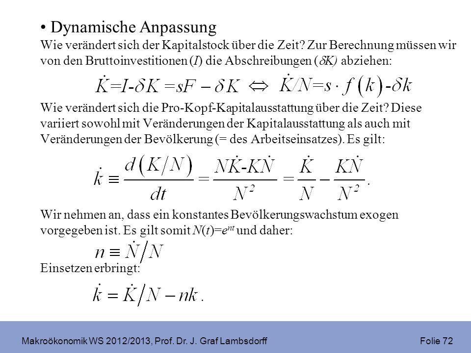 Makroökonomik WS 2012/2013, Prof. Dr. J. Graf Lambsdorff Folie 72 Dynamische Anpassung Wie verändert sich der Kapitalstock über die Zeit? Zur Berechnu