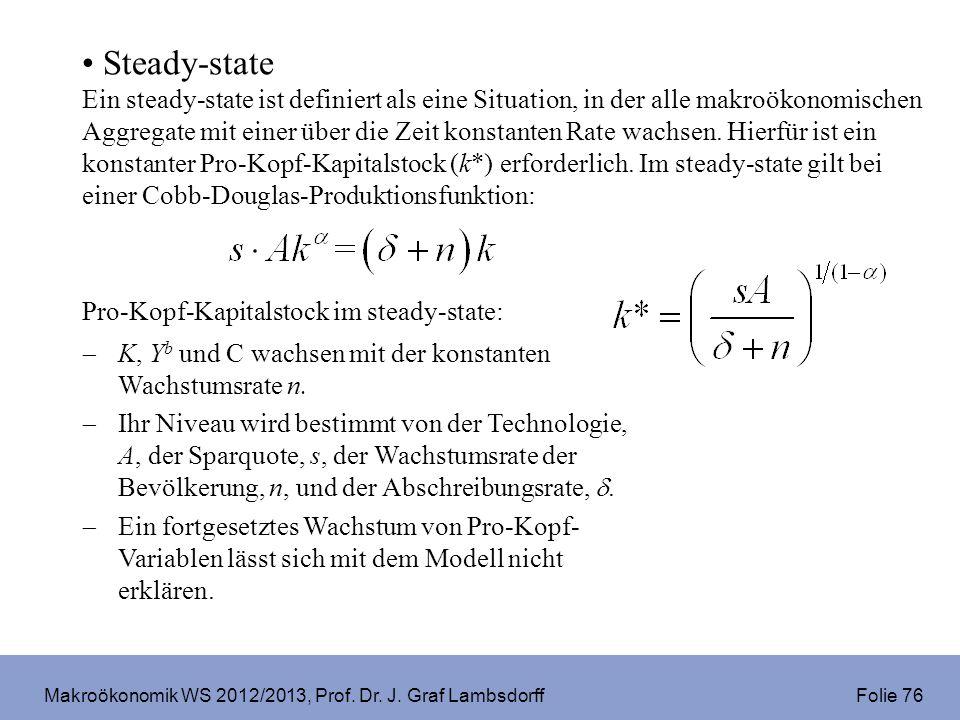 Makroökonomik WS 2012/2013, Prof. Dr. J. Graf Lambsdorff Folie 76 Steady-state Ein steady-state ist definiert als eine Situation, in der alle makroöko