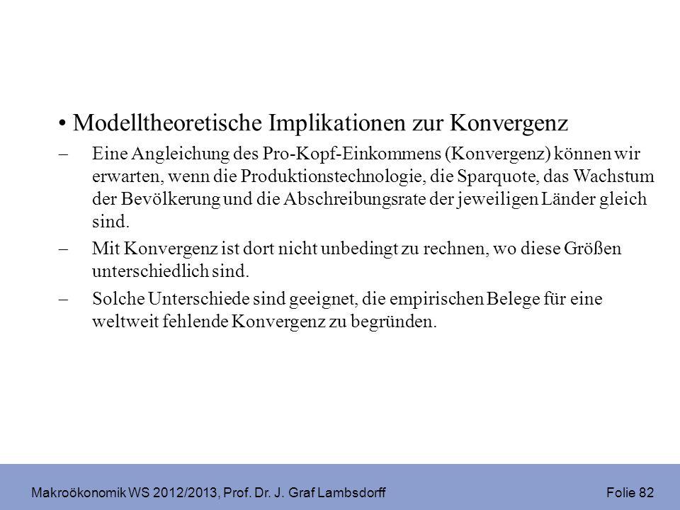 Makroökonomik WS 2012/2013, Prof. Dr. J. Graf Lambsdorff Folie 82 Modelltheoretische Implikationen zur Konvergenz Eine Angleichung des Pro-Kopf-Einkom