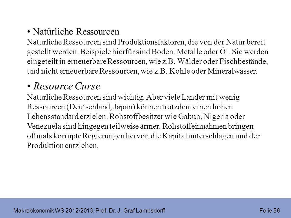 Makroökonomik WS 2012/2013, Prof. Dr. J. Graf Lambsdorff Folie 56 Natürliche Ressourcen Natürliche Ressourcen sind Produktionsfaktoren, die von der Na