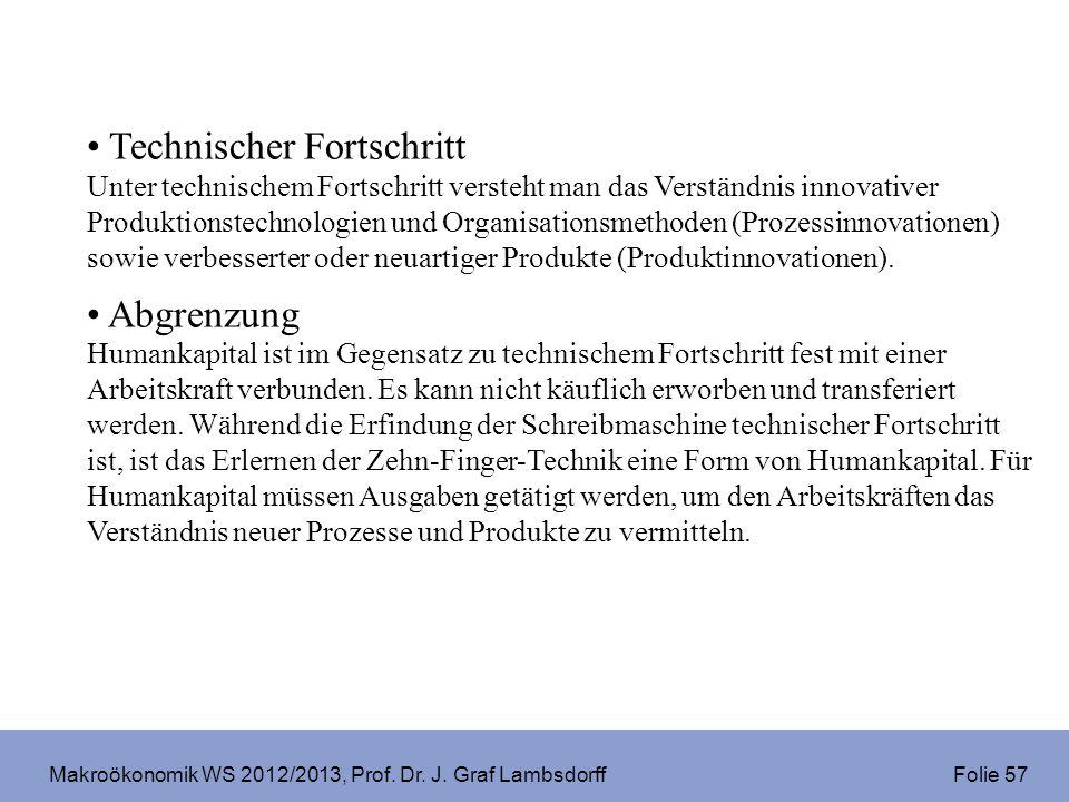 Makroökonomik WS 2012/2013, Prof. Dr. J. Graf Lambsdorff Folie 57 Technischer Fortschritt Unter technischem Fortschritt versteht man das Verständnis i