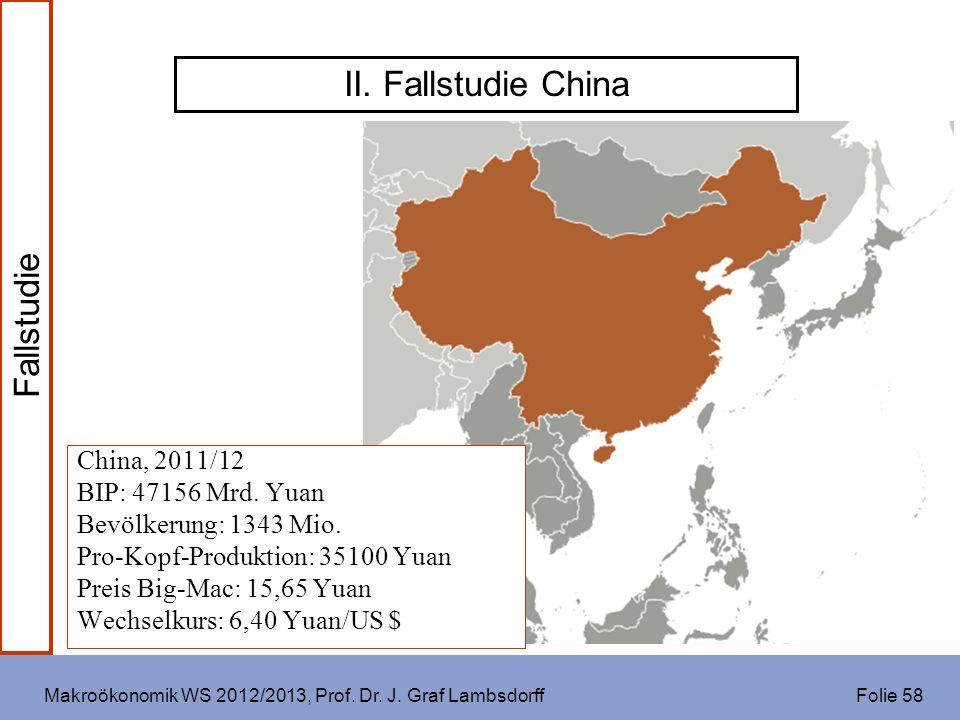 Makroökonomik WS 2012/2013, Prof. Dr. J. Graf Lambsdorff Folie 58 II. Fallstudie China China, 2011/12 BIP: 47156 Mrd. Yuan Bevölkerung: 1343 Mio. Pro-