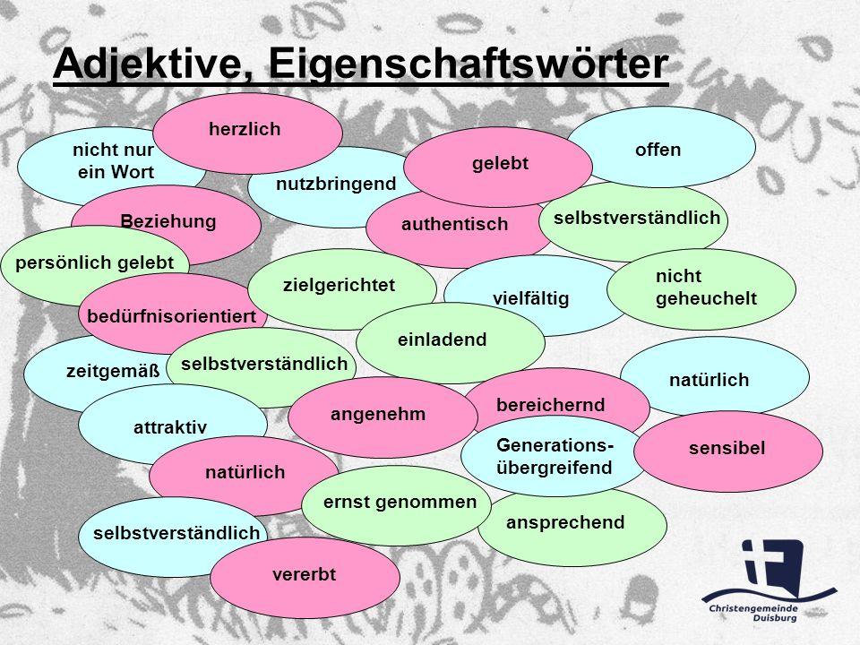 Adjektive, Eigenschaftswörter nicht nur ein Wort Beziehungpersönlich gelebtzeitgemäß bedürfnisorientiert selbstverständlichnutzbringendauthentischziel