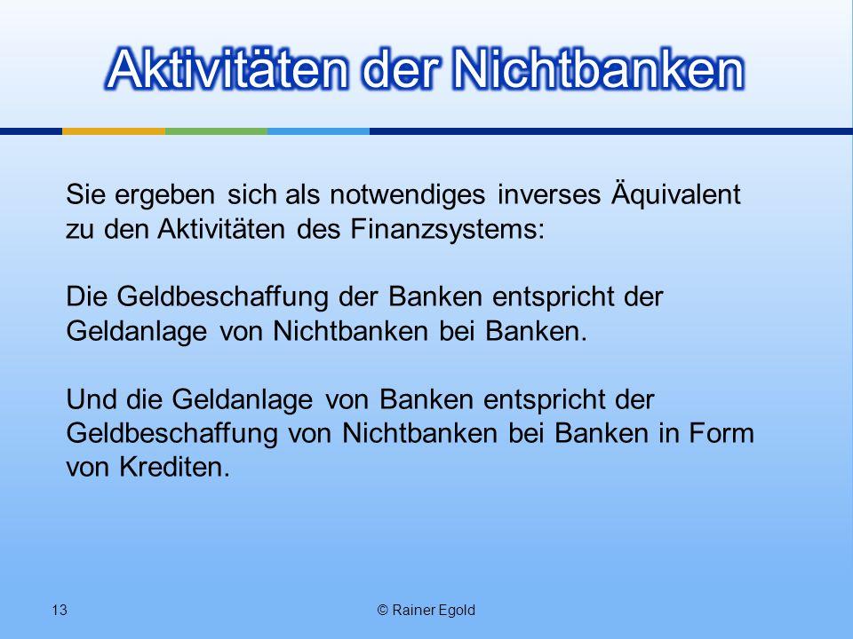 © Rainer Egold13 Sie ergeben sich als notwendiges inverses Äquivalent zu den Aktivitäten des Finanzsystems: Die Geldbeschaffung der Banken entspricht der Geldanlage von Nichtbanken bei Banken.