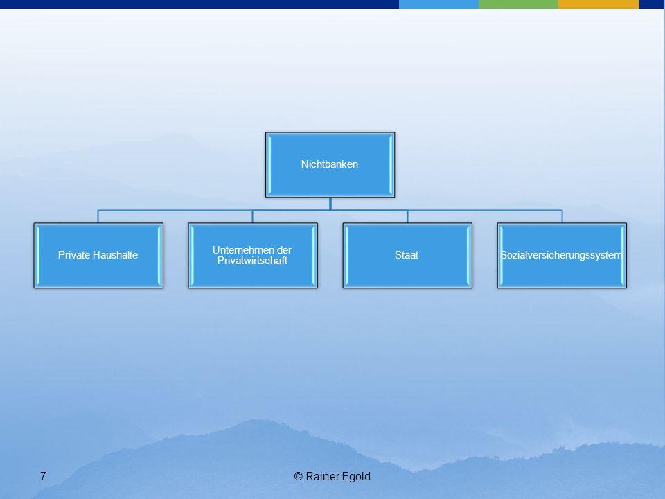 © Rainer Egold8 B) Aktivitäten der Akteure 1.Finanzsystem: 1.Geld der Nichtbanken verwalten und anlegen 2.Geld Nichtbanken zur Verfügung stellen ( = Geld bei Nichtbanken anlegen) 2.Nichtbanken 1.Geld im Finanzsystem anlegen 2.Geld vom Finanzsystem beschaffen