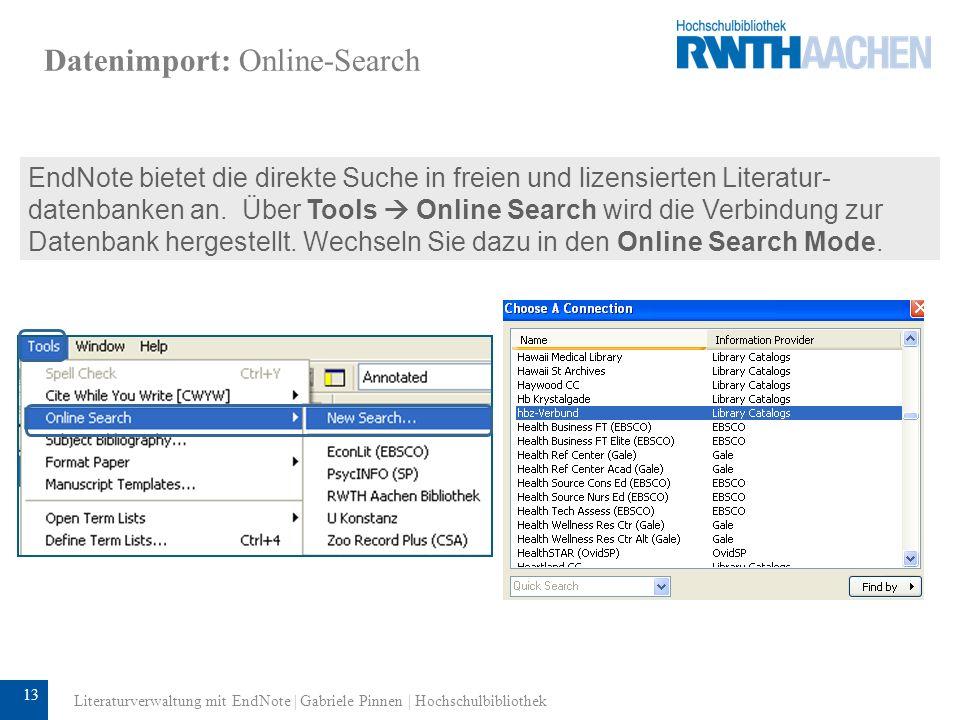 14 Datenimport: Online Search Aktuelle Datenbank Die Anzahl der gefundenen und zu importierenden Treffer kann durch manuelle Eingabe reduziert werden.
