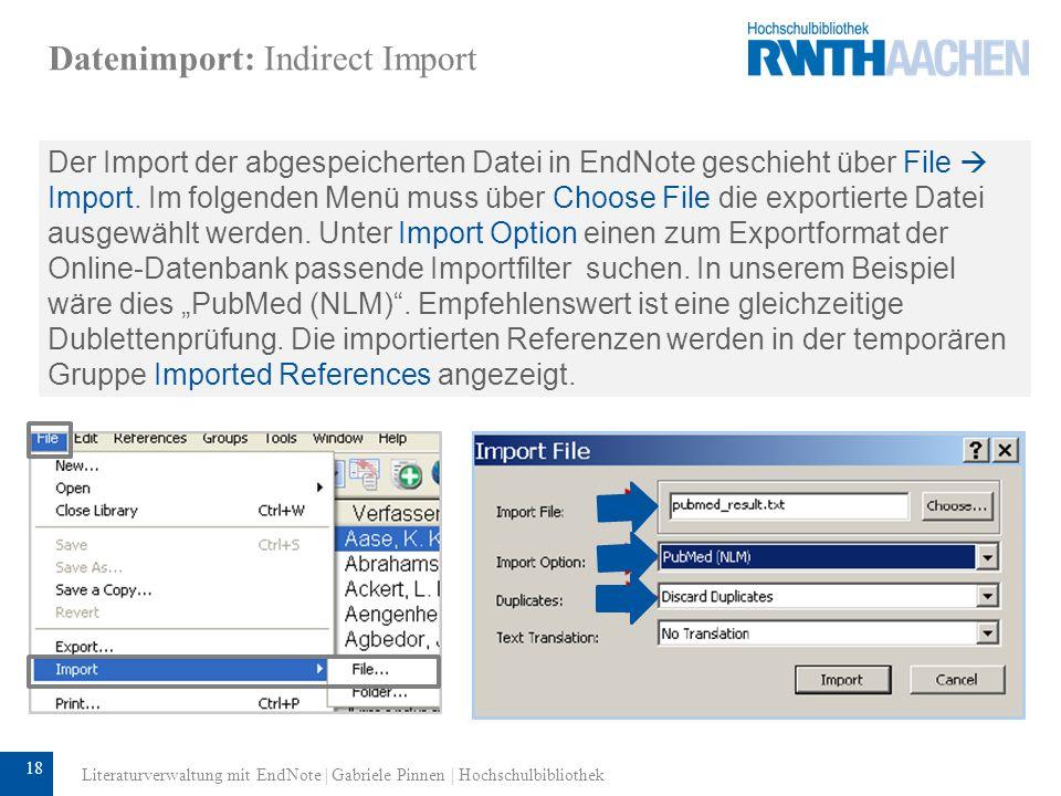 19 Datenimport: PDF-Import Bibliografische Angaben können auch mittels PDF-Dateien in die EndNote-Datenbank importiert werden.