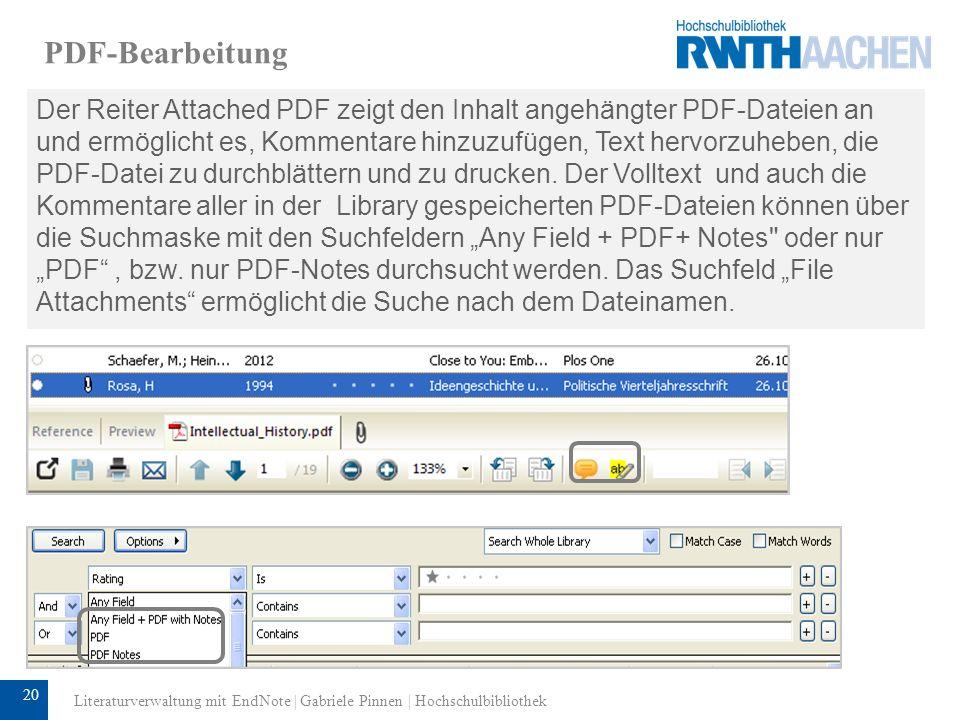 21 Arbeiten mit Groups All References zeigt alle Referenzen einer EndNote- Datenbank.