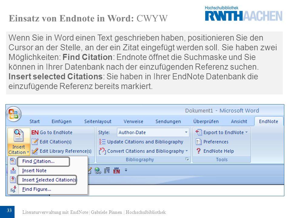 34 Einsatz von Endnote in Word: CWYW Sie können die Zitate im Dokument und die Bibliographie ändern und dabei jedes Mal einen anderen Output-Style (hier: Author-Date) und ein anderes Layout verwenden.