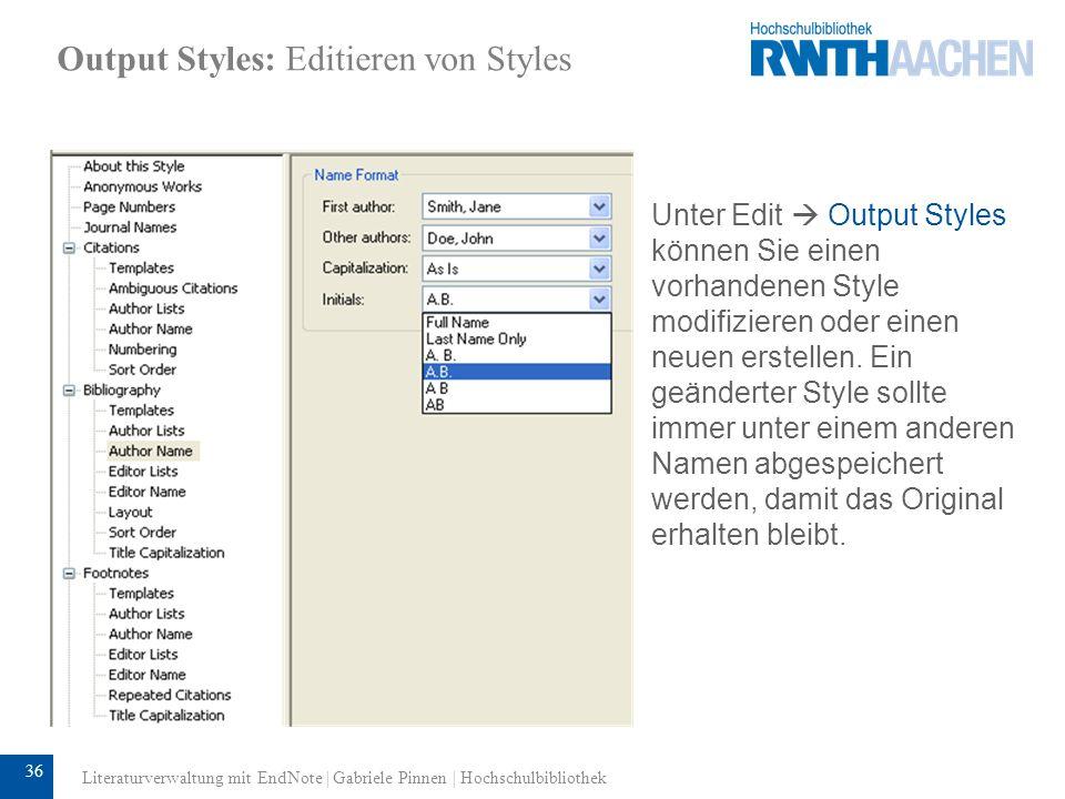 37 Output Styles: Editieren von Styles Das Auswahlfenster Reference Types zeigt alle von dem ausgewählten Style erfassten Reference Types an.