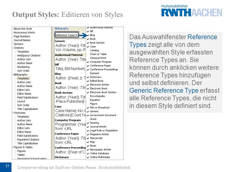 38 Output Styles: Editieren von Styles 5 Regeln zum Editieren von Styles: 1.Wenn kein Leerzeichen zwischen Variable und Text oder Interpunktion steht, werden Text oder Interpunktion nur dann ausgegeben, wenn in dem Variablenfeld etwas steht.