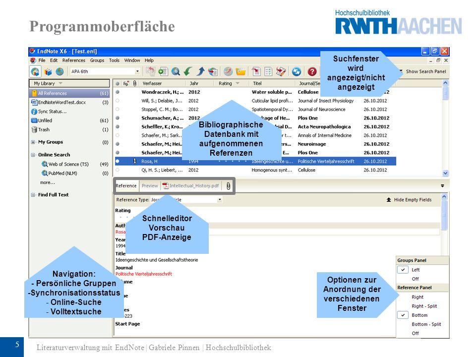 6 Einrichten des Programms: Anlegen einer neuen Datenbank Dateiname vergeben Literaturverwaltung mit EndNote | Gabriele Pinnen | Hochschulbibliothek