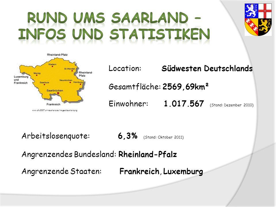 Location: Südwesten Deutschlands Gesamtfläche: 2569,69km² Einwohner: 1.017.567 (Stand: Dezember 2010) Arbeitslosenquote: 6,3% (Stand: Oktober 2011) An