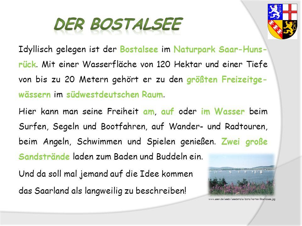 Idyllisch gelegen ist der Bostalsee im Naturpark Saar-Huns- rück. Mit einer Wasserfläche von 120 Hektar und einer Tiefe von bis zu 20 Metern gehört er