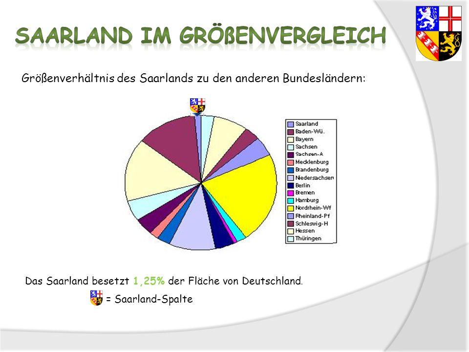 Größenverhältnis des Saarlands zu den anderen Bundesländern: Das Saarland besetzt 1,25% der Fläche von Deutschland. = Saarland-Spalte