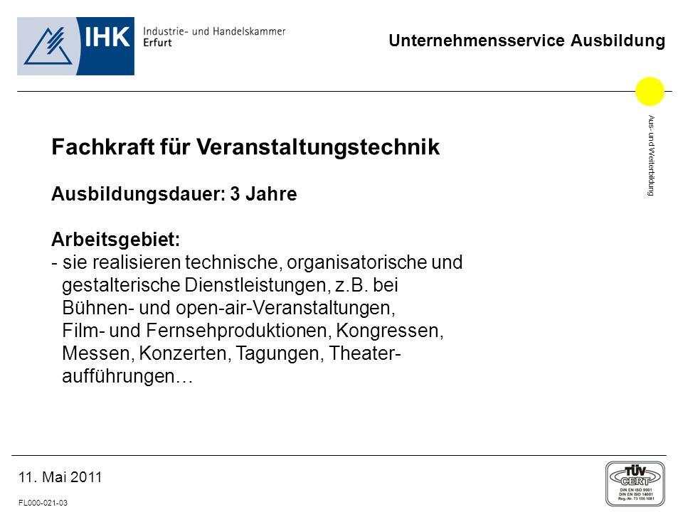 Aus- und Weiterbildung FL000-021-03 Unternehmensservice Ausbildung 11.