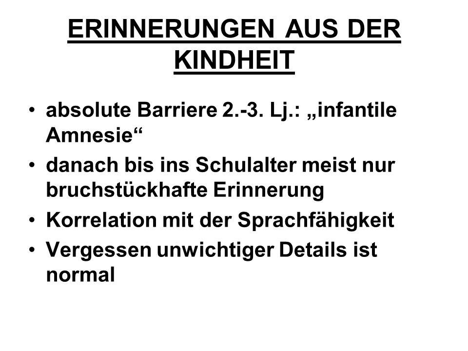 ERINNERUNGEN AUS DER KINDHEIT absolute Barriere 2.-3.
