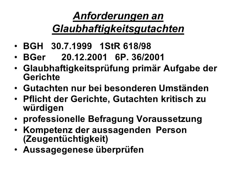 Anforderungen an Glaubhaftigkeitsgutachten BGH 30.7.1999 1StR 618/98 BGer20.12.2001 6P. 36/2001 Glaubhaftigkeitsprüfung primär Aufgabe der Gerichte Gu