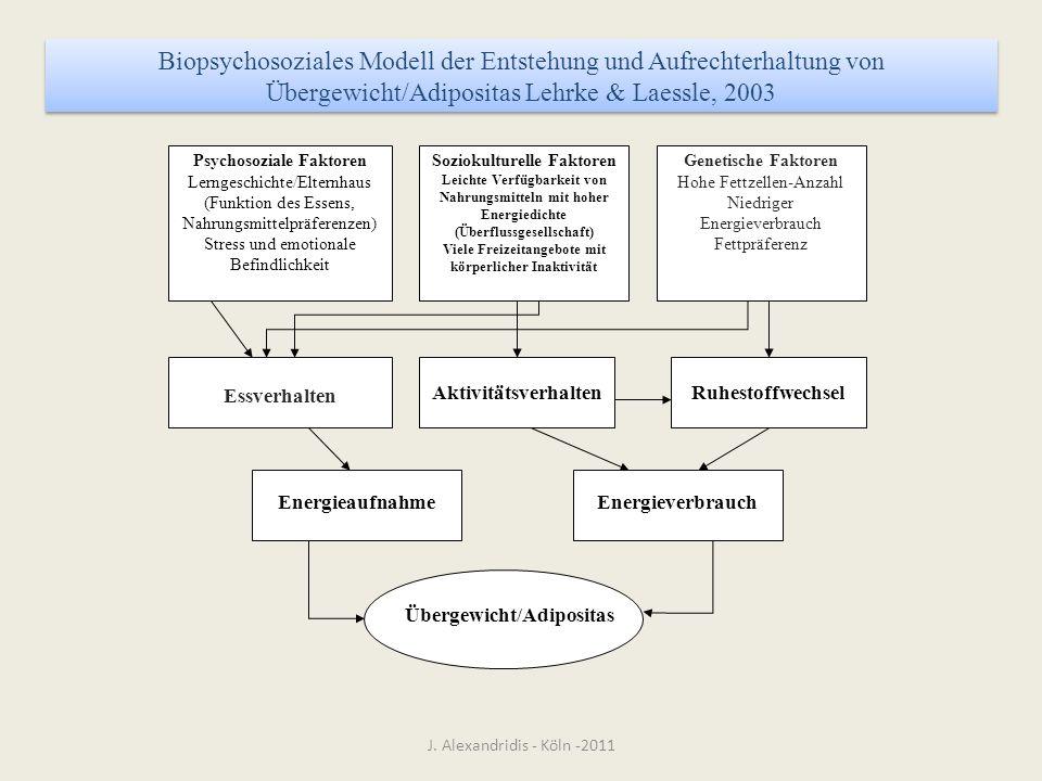 J. Alexandridis - Köln -2011 Genetische Faktoren Hohe Fettzellen-Anzahl Niedriger Energieverbrauch Fettpräferenz Soziokulturelle Faktoren Leichte Verf