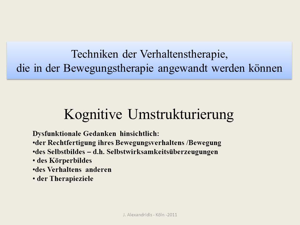 Techniken der Verhaltenstherapie, die in der Bewegungstherapie angewandt werden können J. Alexandridis - Köln -2011 Kognitive Umstrukturierung Dysfunk