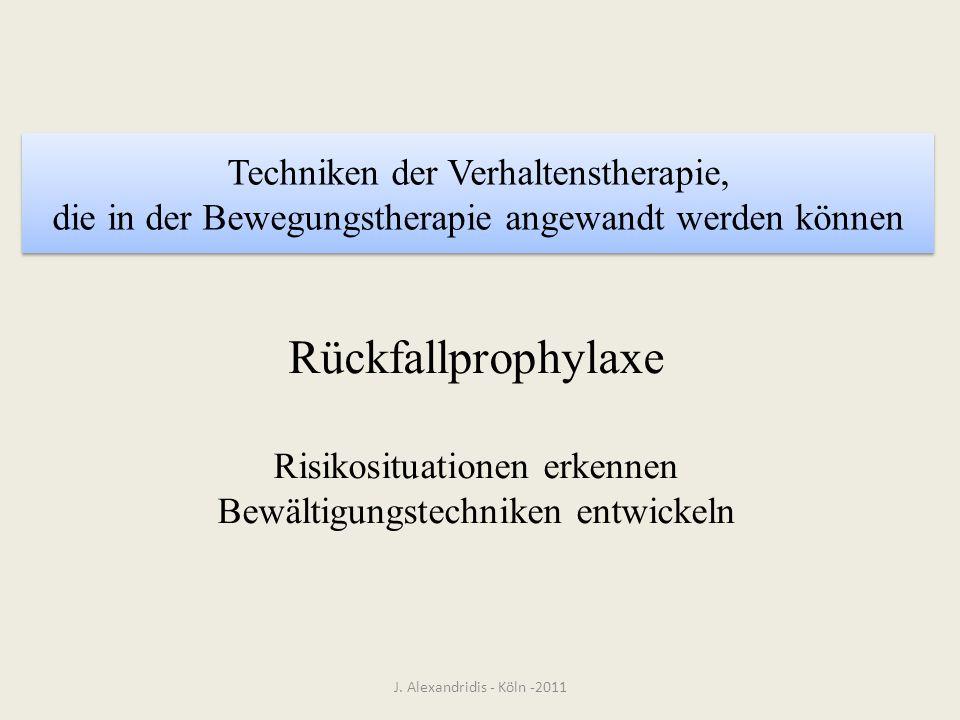 Techniken der Verhaltenstherapie, die in der Bewegungstherapie angewandt werden können J. Alexandridis - Köln -2011 Rückfallprophylaxe Risikosituation