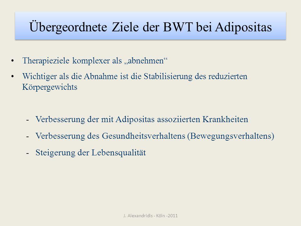 Übergeordnete Ziele der BWT bei Adipositas Therapieziele komplexer als abnehmen Wichtiger als die Abnahme ist die Stabilisierung des reduzierten Körpe
