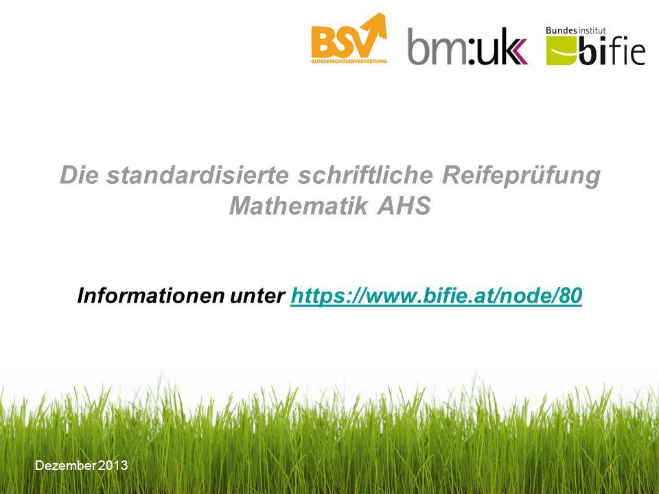 Dezember 2013 Konzept Das der Prüfung zugrunde liegende Konzept findet sich unter: https://www.bifie.at/system/files/dl/srdp_ma_konzept_2013-03-11.pdf https://www.bifie.at/system/files/dl/srdp_ma_konzept_2013-03-11.pdf Darin können alle relevanten Informationen nachgelesen werden: - Grundkompetenzkatalog - Kontextkatalog - Rahmenbedingungen zur Prüfung - Antwortformate - Beurteilungsschema