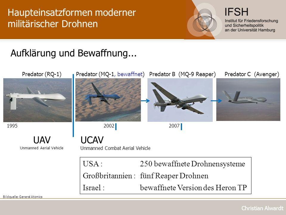 Haupteinsatzformen moderner militärischer Drohnen Christian Alwardt Aufklärung und Bewaffnung... Predator (RQ-1) 1995 Predator B (MQ-9 Reaper) 2007 Pr