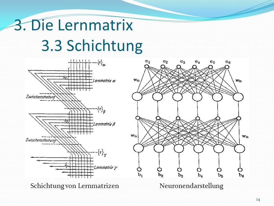 3. Die Lernmatrix 3.3 Schichtung Schichtung von Lernmatrizen Neuronendarstellung 14