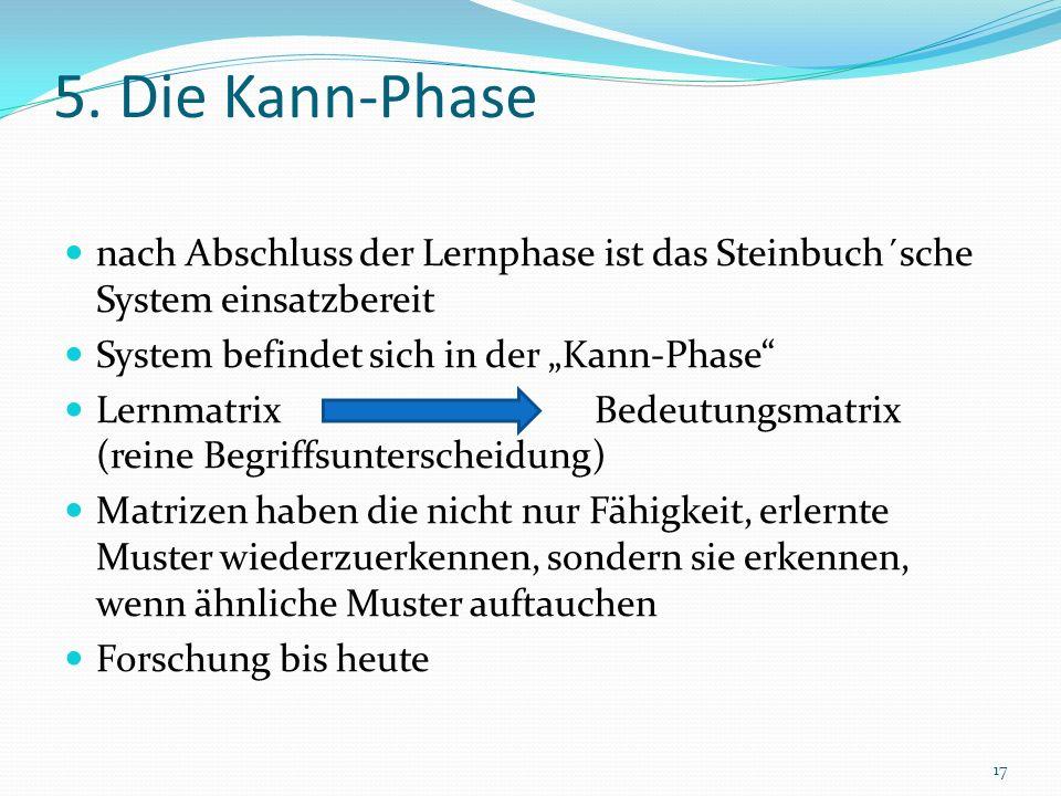 5. Die Kann-Phase nach Abschluss der Lernphase ist das Steinbuch´sche System einsatzbereit System befindet sich in der Kann-Phase Lernmatrix Bedeutung