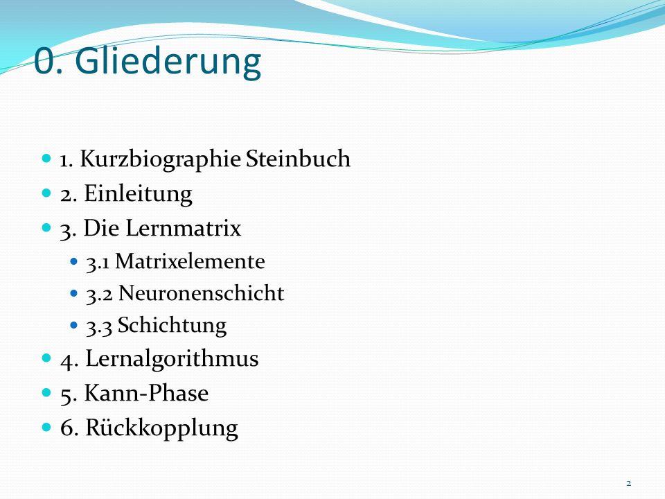 0. Gliederung 1. Kurzbiographie Steinbuch 2. Einleitung 3. Die Lernmatrix 3.1 Matrixelemente 3.2 Neuronenschicht 3.3 Schichtung 4. Lernalgorithmus 5.