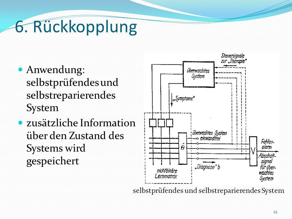 6. Rückkopplung Anwendung: selbstprüfendes und selbstreparierendes System zusätzliche Information über den Zustand des Systems wird gespeichert 21 sel