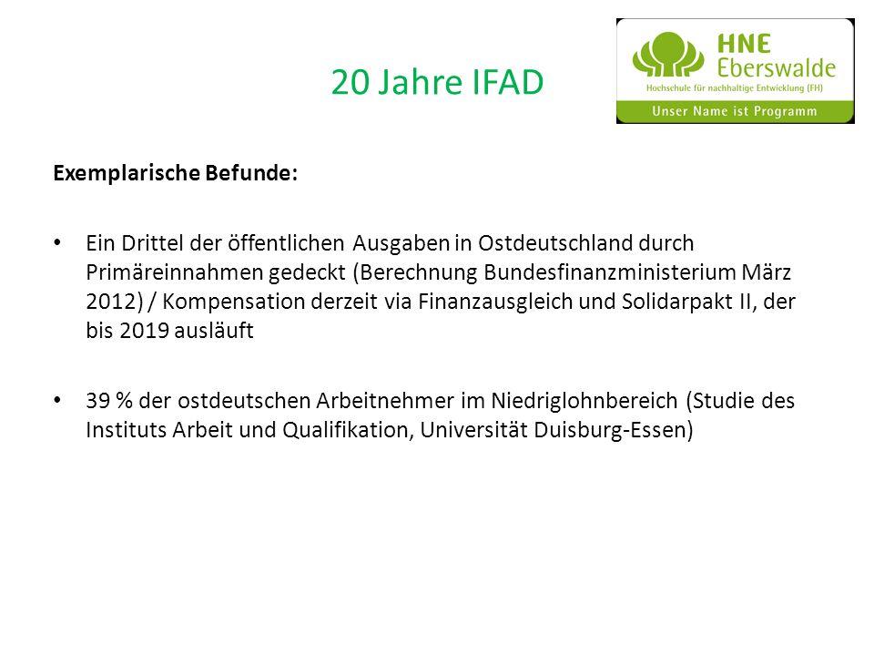20 Jahre IFAD Exemplarische Befunde: Ein Drittel der öffentlichen Ausgaben in Ostdeutschland durch Primäreinnahmen gedeckt (Berechnung Bundesfinanzmin
