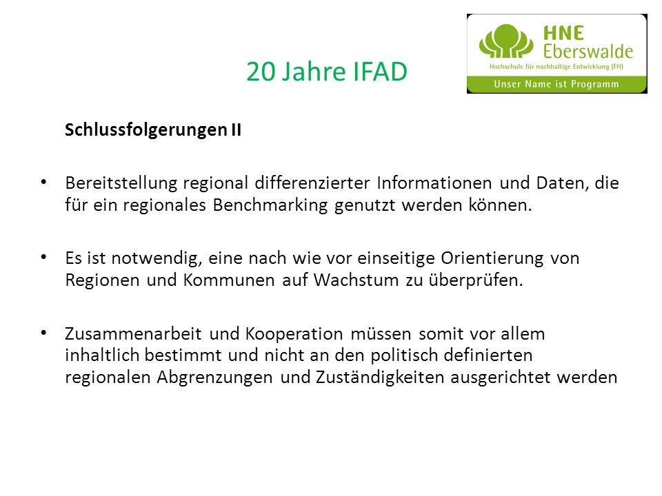 20 Jahre IFAD Schlussfolgerungen II Bereitstellung regional differenzierter Informationen und Daten, die für ein regionales Benchmarking genutzt werde