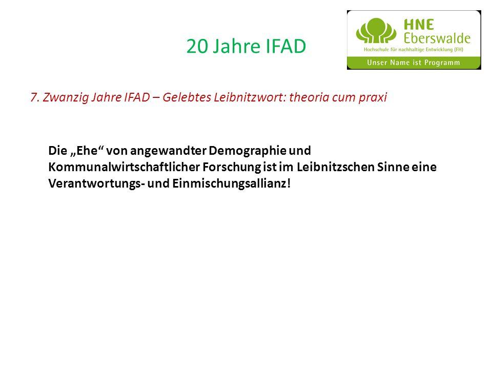 20 Jahre IFAD 7. Zwanzig Jahre IFAD – Gelebtes Leibnitzwort: theoria cum praxi Die Ehe von angewandter Demographie und Kommunalwirtschaftlicher Forsch