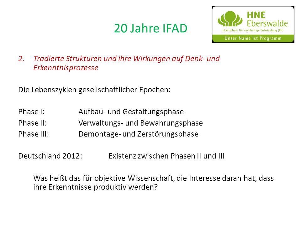 20 Jahre IFAD 2.Tradierte Strukturen und ihre Wirkungen auf Denk- und Erkenntnisprozesse Die Lebenszyklen gesellschaftlicher Epochen: Phase I:Aufbau-