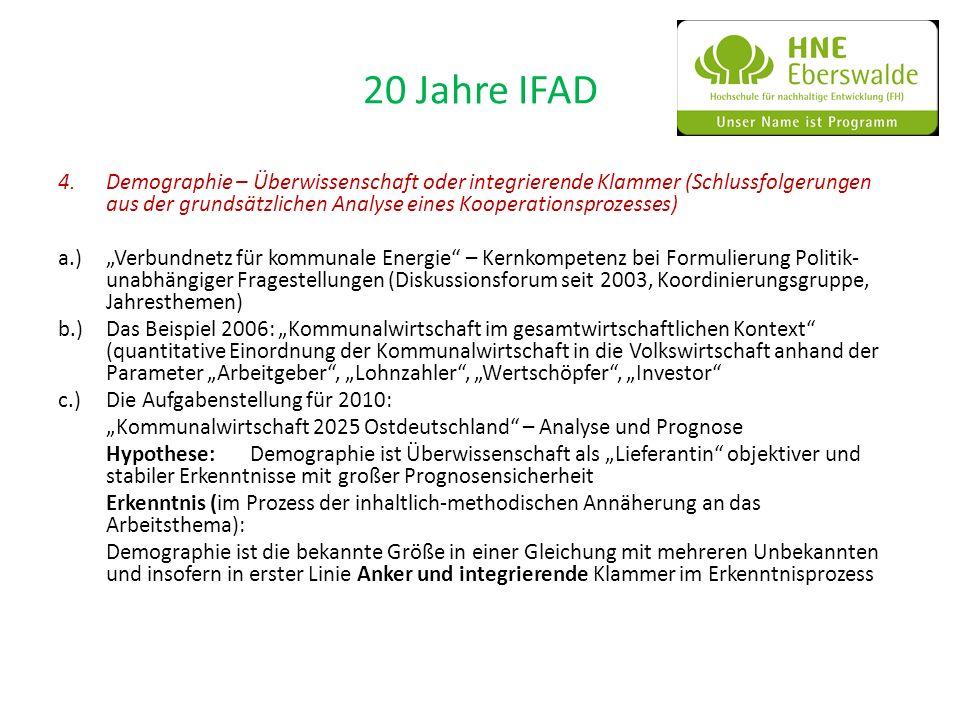 20 Jahre IFAD 4.Demographie – Überwissenschaft oder integrierende Klammer (Schlussfolgerungen aus der grundsätzlichen Analyse eines Kooperationsprozes