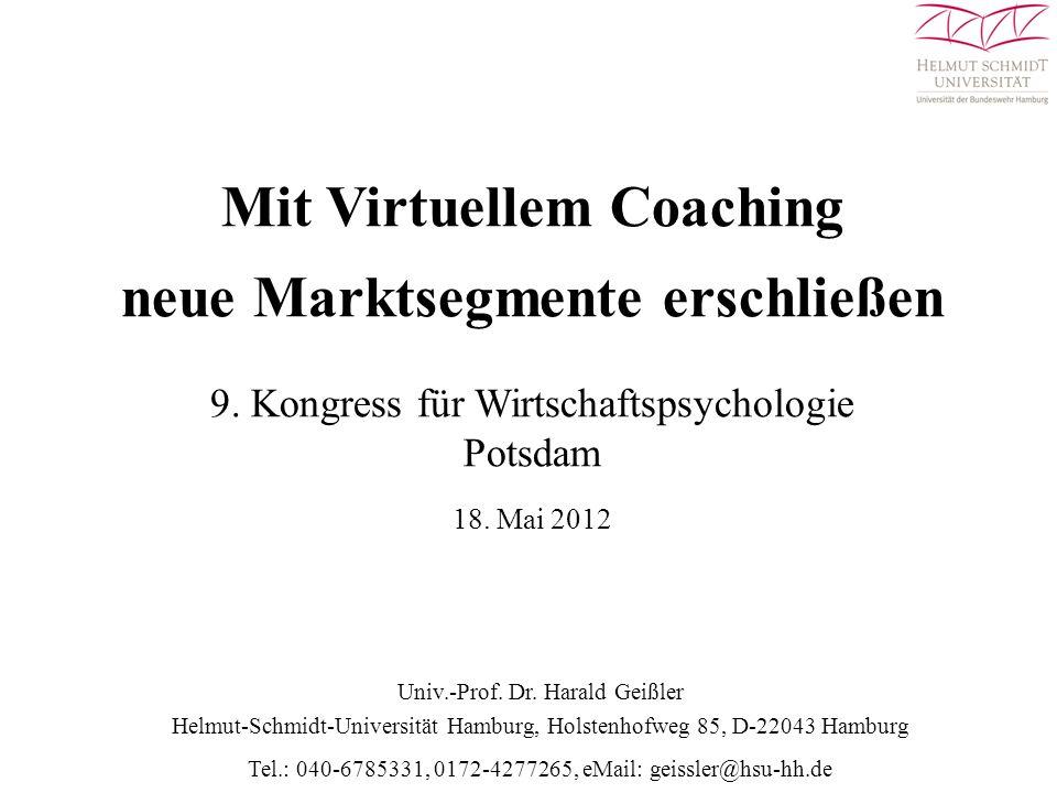 Merkmalsprofil des Coachingprodukts Virtuellen Führungscoaching (VFC) Gruppe andere Personen Vorgesetzter Organis.