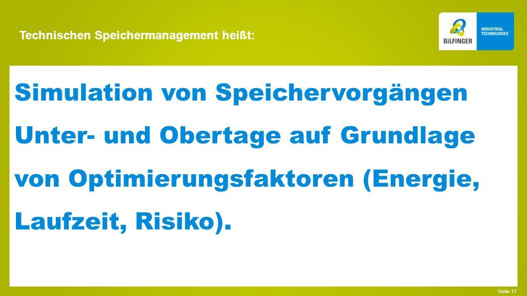 Technischen Speichermanagement heißt: Seite 18 Kopplungen zu Konzernlösungen, z.B. SAP EAM (PM).