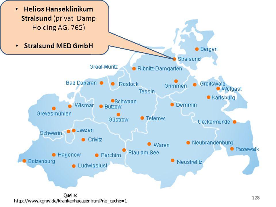 Helios Hanseklinikum Stralsund (privat Damp Holding AG, 765) Stralsund MED GmbH Quelle: http://www.kgmv.de/krankenhaeuser.html?no_cache=1 128