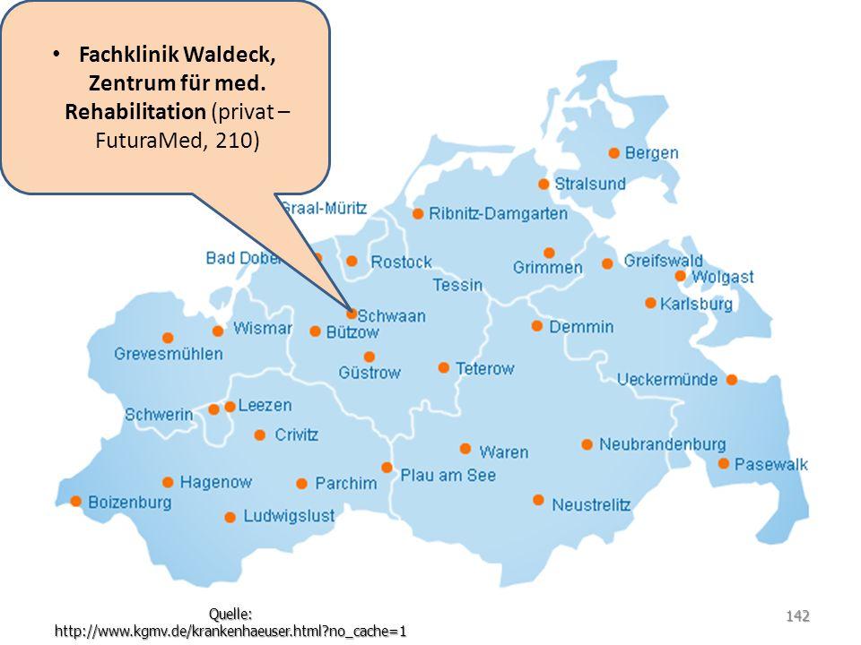 Fachklinik Waldeck, Zentrum für med. Rehabilitation (privat – FuturaMed, 210) Quelle: http://www.kgmv.de/krankenhaeuser.html?no_cache=1 142