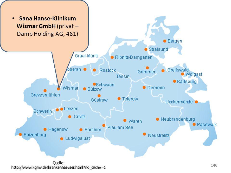 Sana Hanse-Klinikum Wismar GmbH (privat – Damp Holding AG, 461) Quelle: http://www.kgmv.de/krankenhaeuser.html?no_cache=1 146